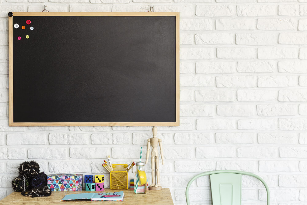 Magnetic board on wall