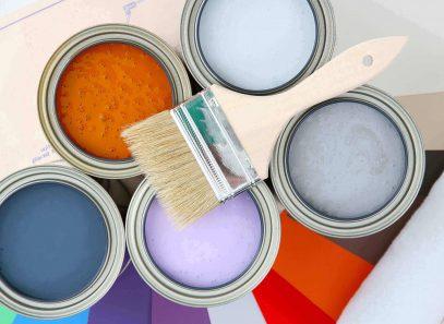 Paint cans with different colour paints