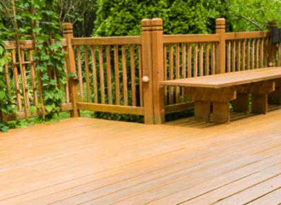 Wooden deck with bench