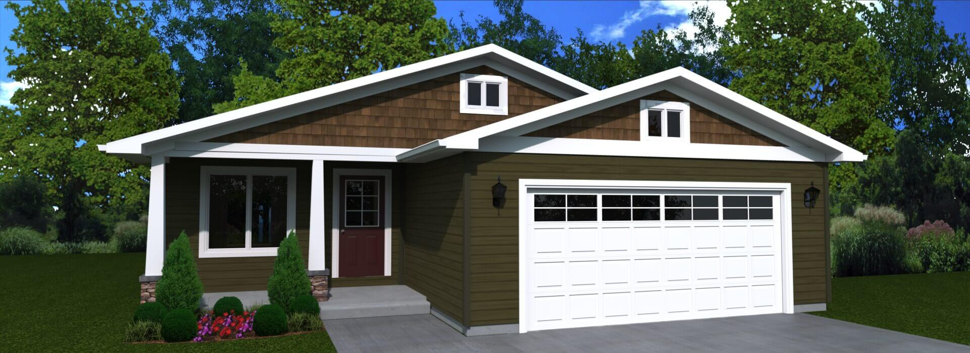 1309 sq.ft. timber mart house 3 bed 2 bath exterior render