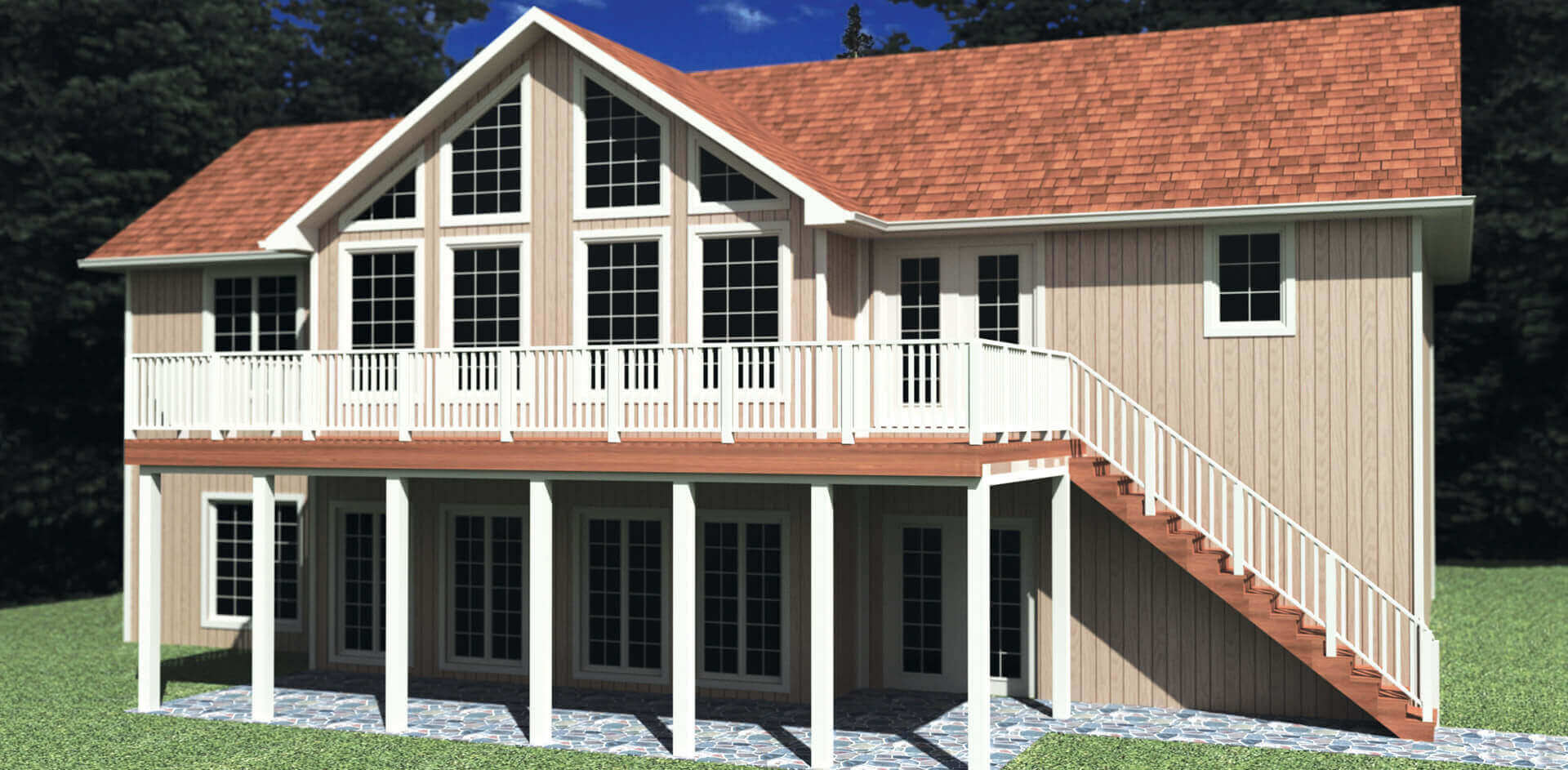 1437 sq.ft. timber mart house 3 bed 2.5 bath exterior render