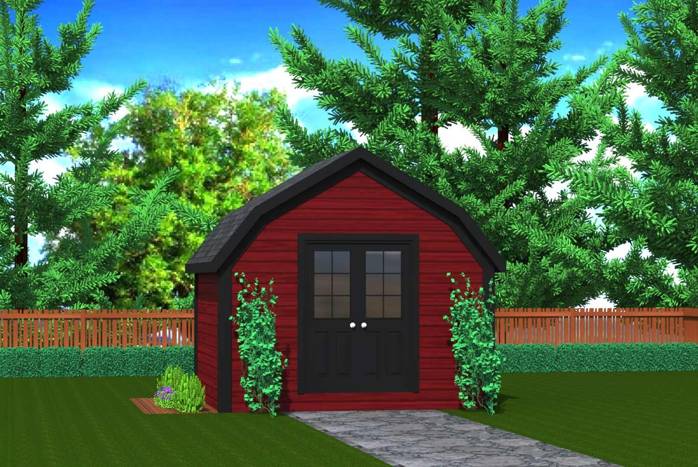 120 sq.ft. (11.15 sq.m.) timber mart shed with red stain wood and french doors