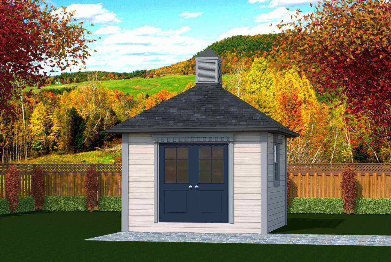 144 sq.ft. timber mart shed with french door and window