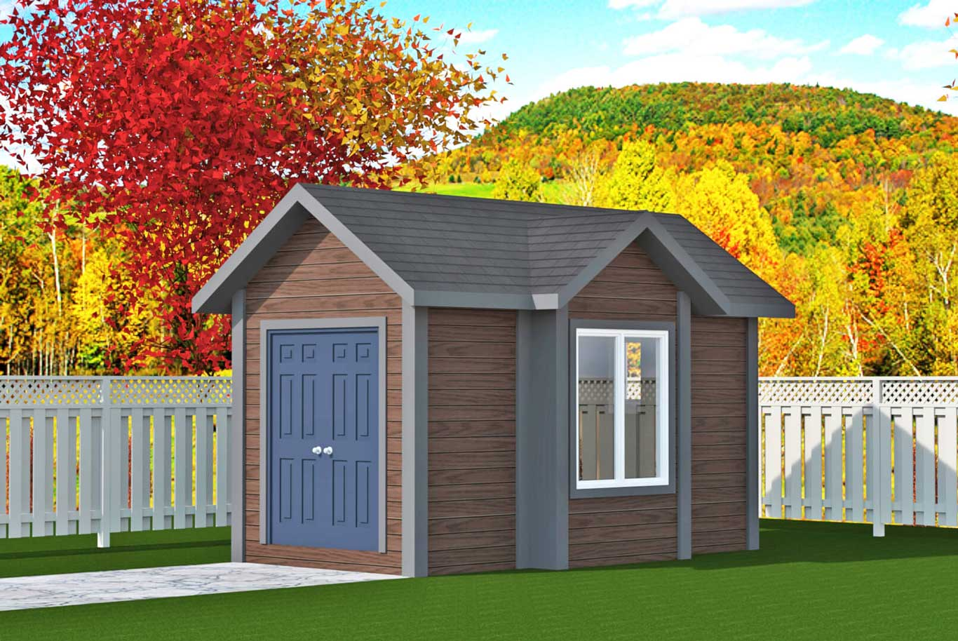 64 sq.ft. timber mart shed french doors