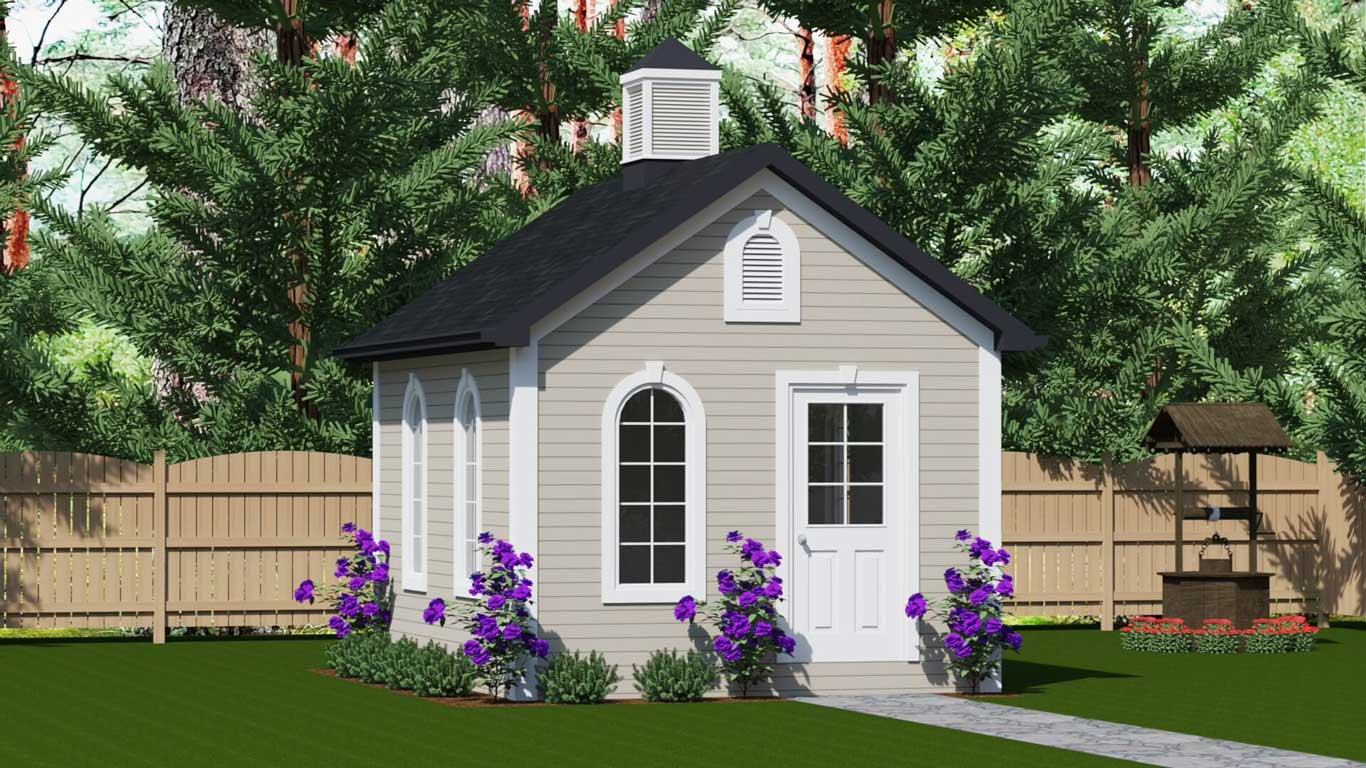 180 sq.ft. timber mart shed with arched windows