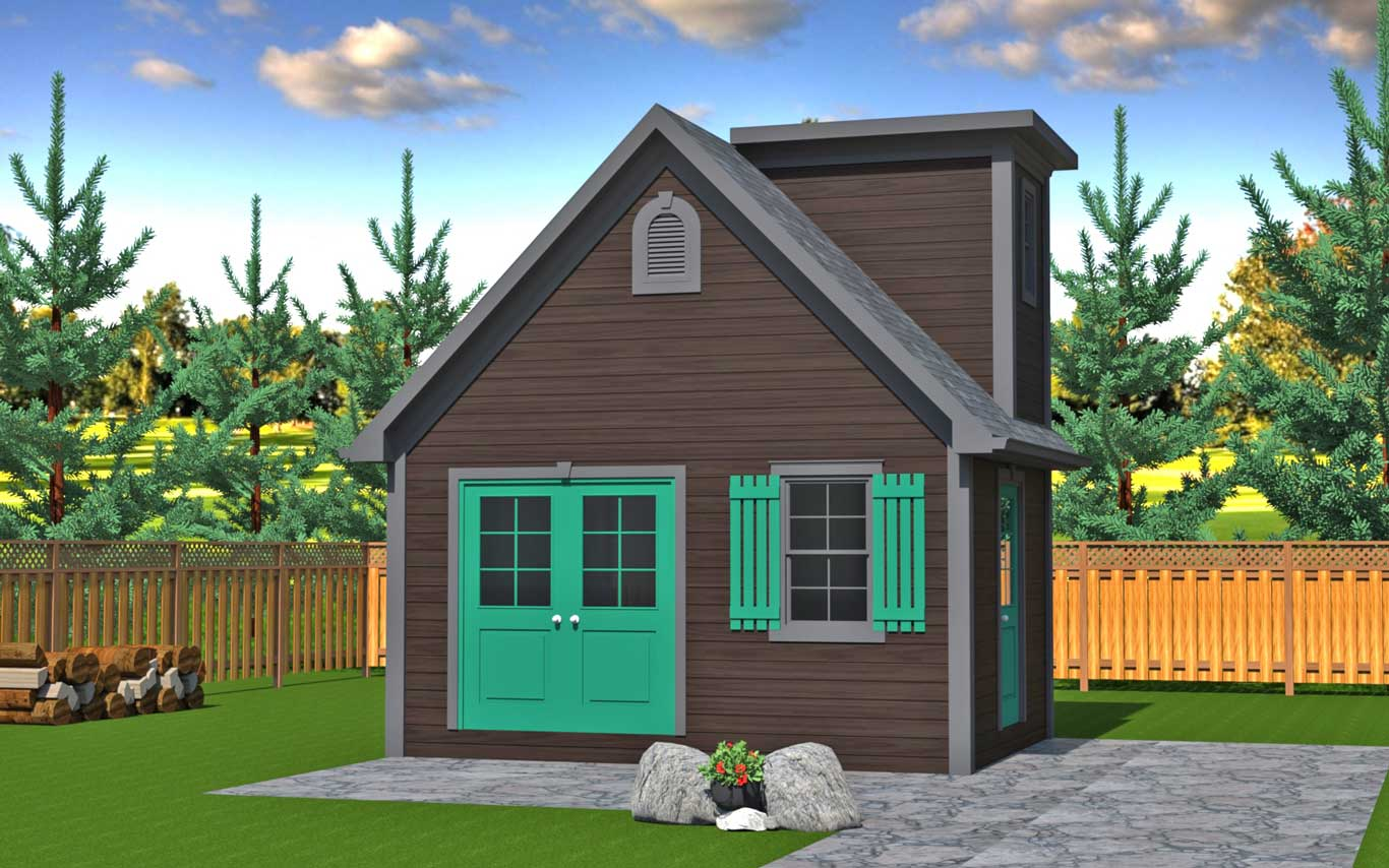 192 sq.ft. timber mart shed with french and side doors brown and teal finish
