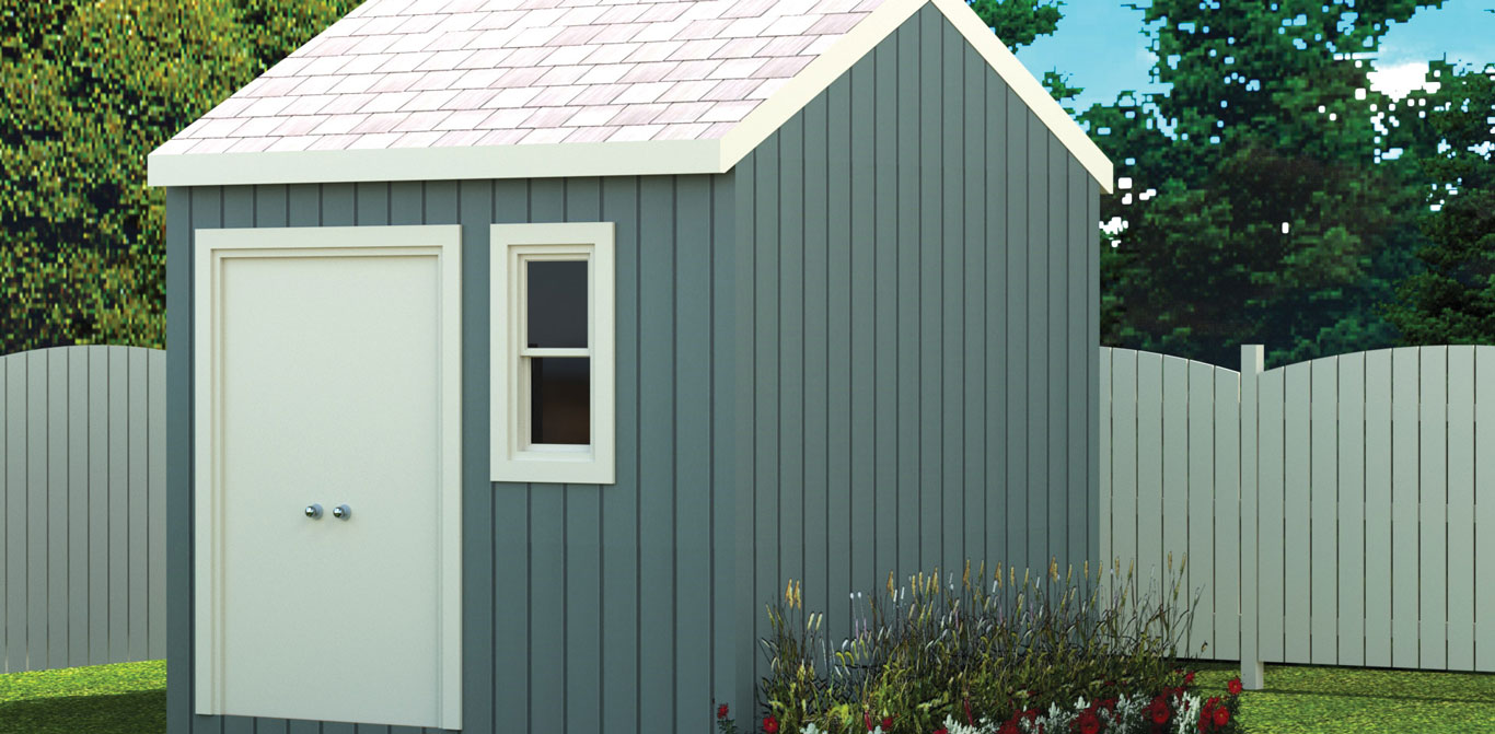 100 sq.ft. timber mart shed with french door, window and blue and white finish
