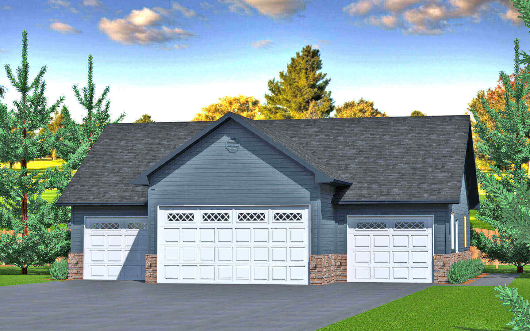 1320 sq.ft. timber mart 4 car garage exterior render