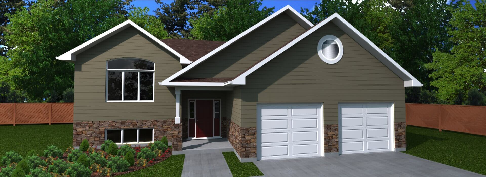 1608 sq.ft. timber mart house 3 bed 2 bath exterior render