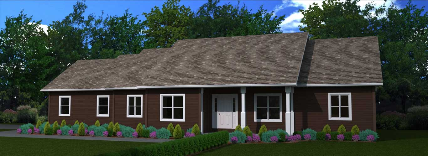 1821 sq.ft. timber mart house 3 bed 2 bath exterior render