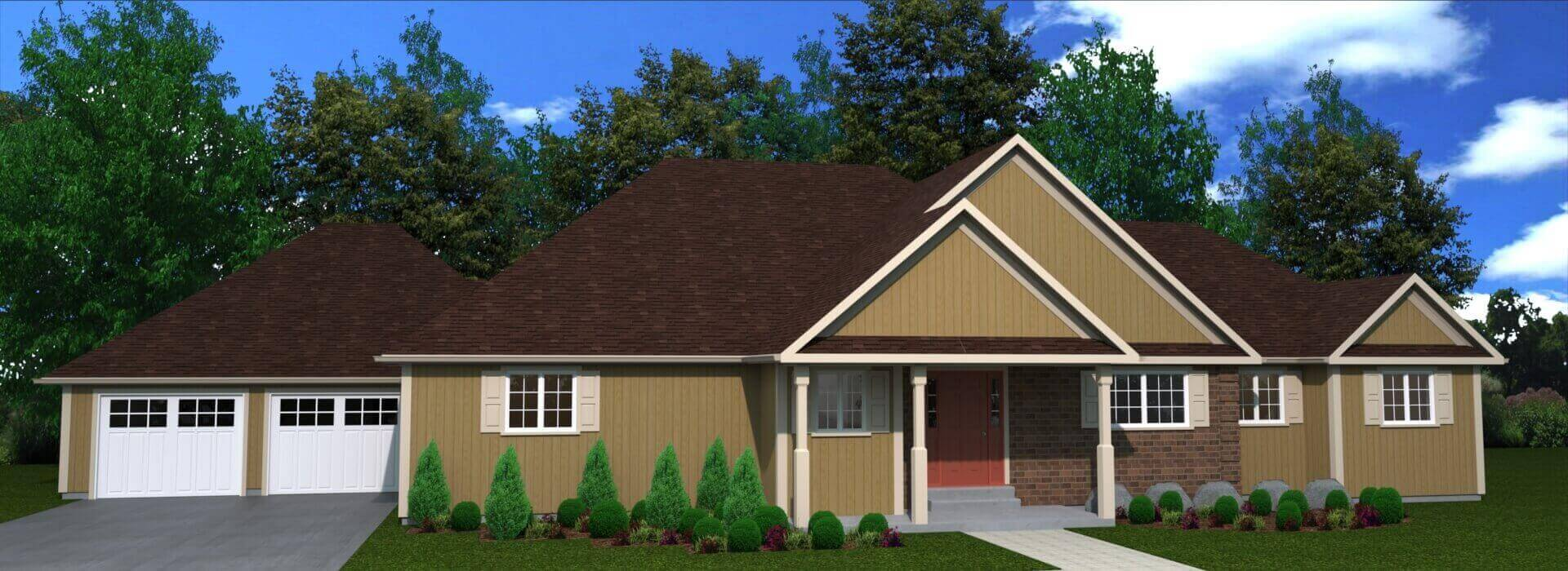 2097 sq.ft. timber mart house 3 bed 2 bath exterior render