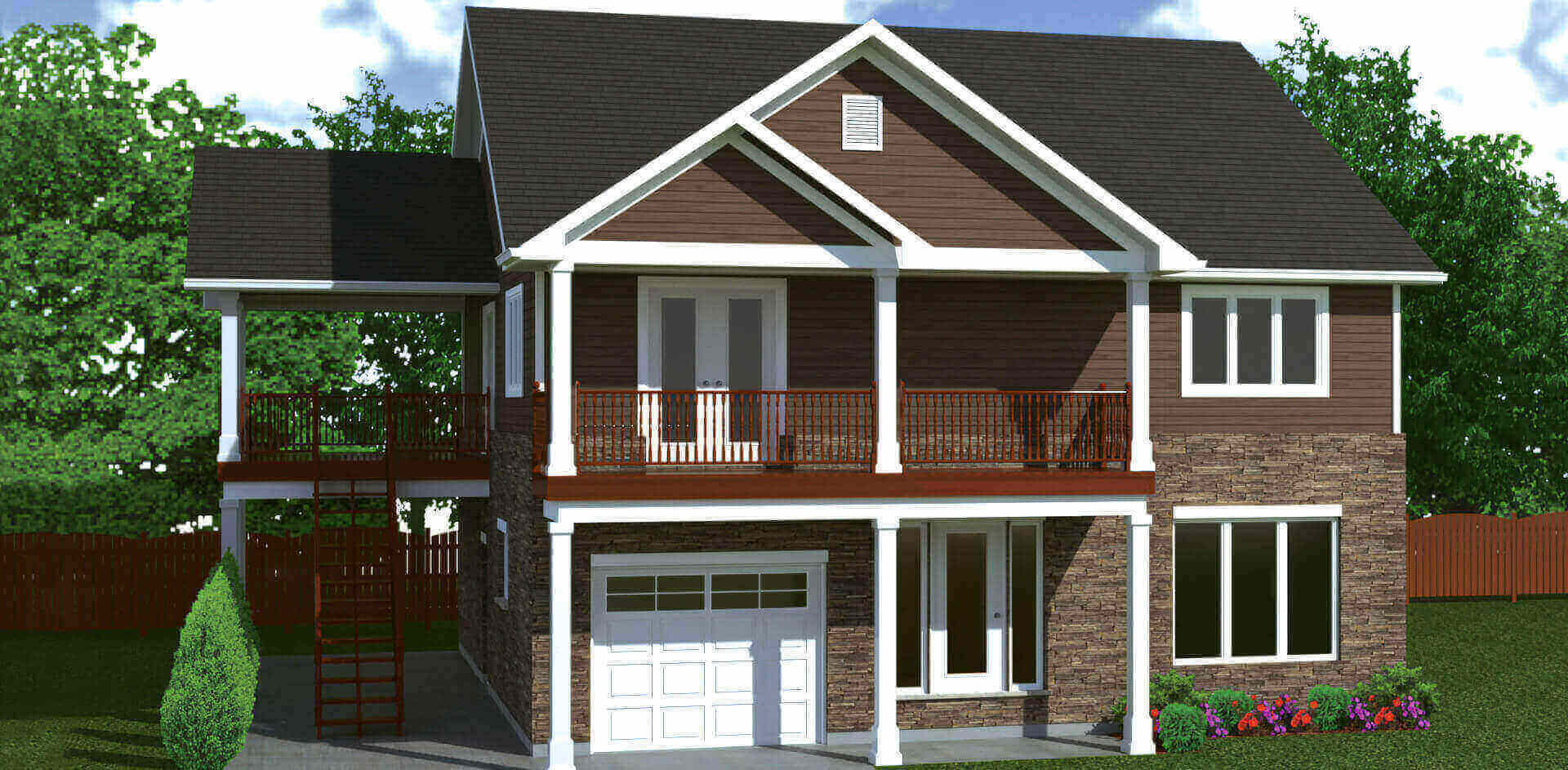 2296 sq.ft. timber mart house 3 bed 1.5 bath exterior render