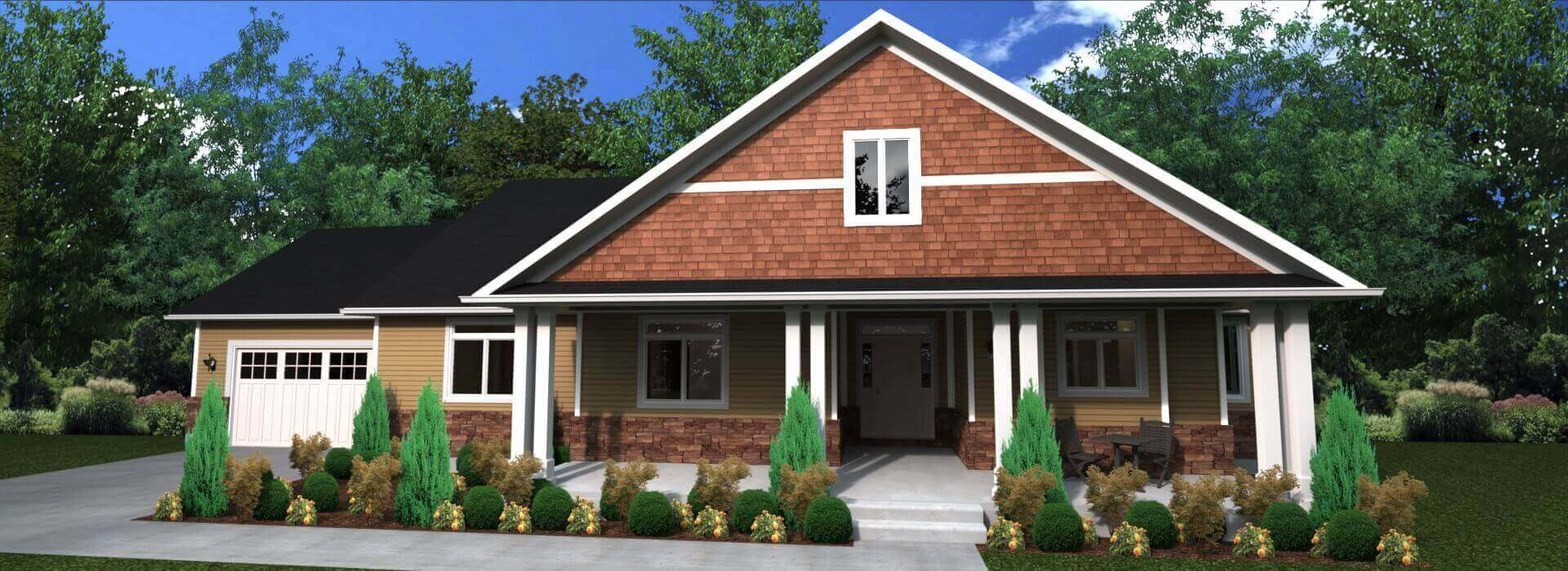 2297 sq.ft. timber mart house 3 bed 2.5 bath exterior render