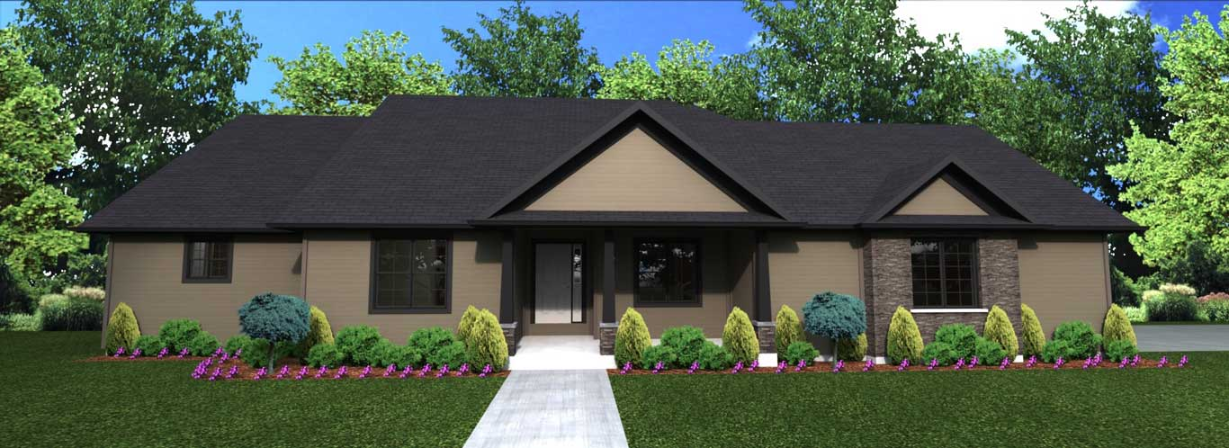 2443 sq.ft. timber mart house 3 bed 2.5 bath exterior render