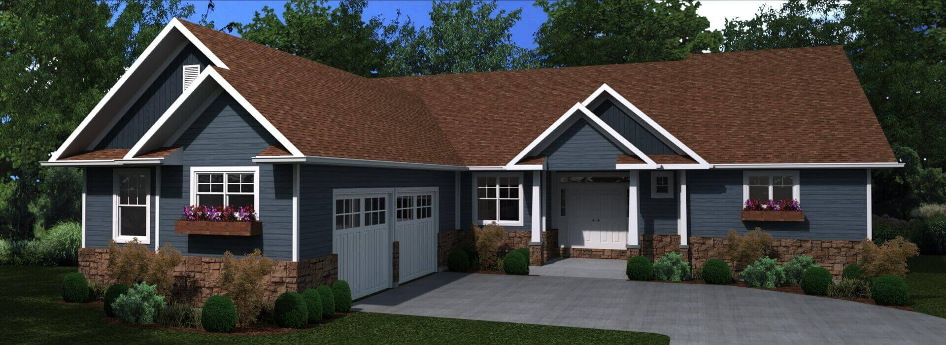 2505 sq.ft. timber mart house 3 bed 2.5 bath exterior render