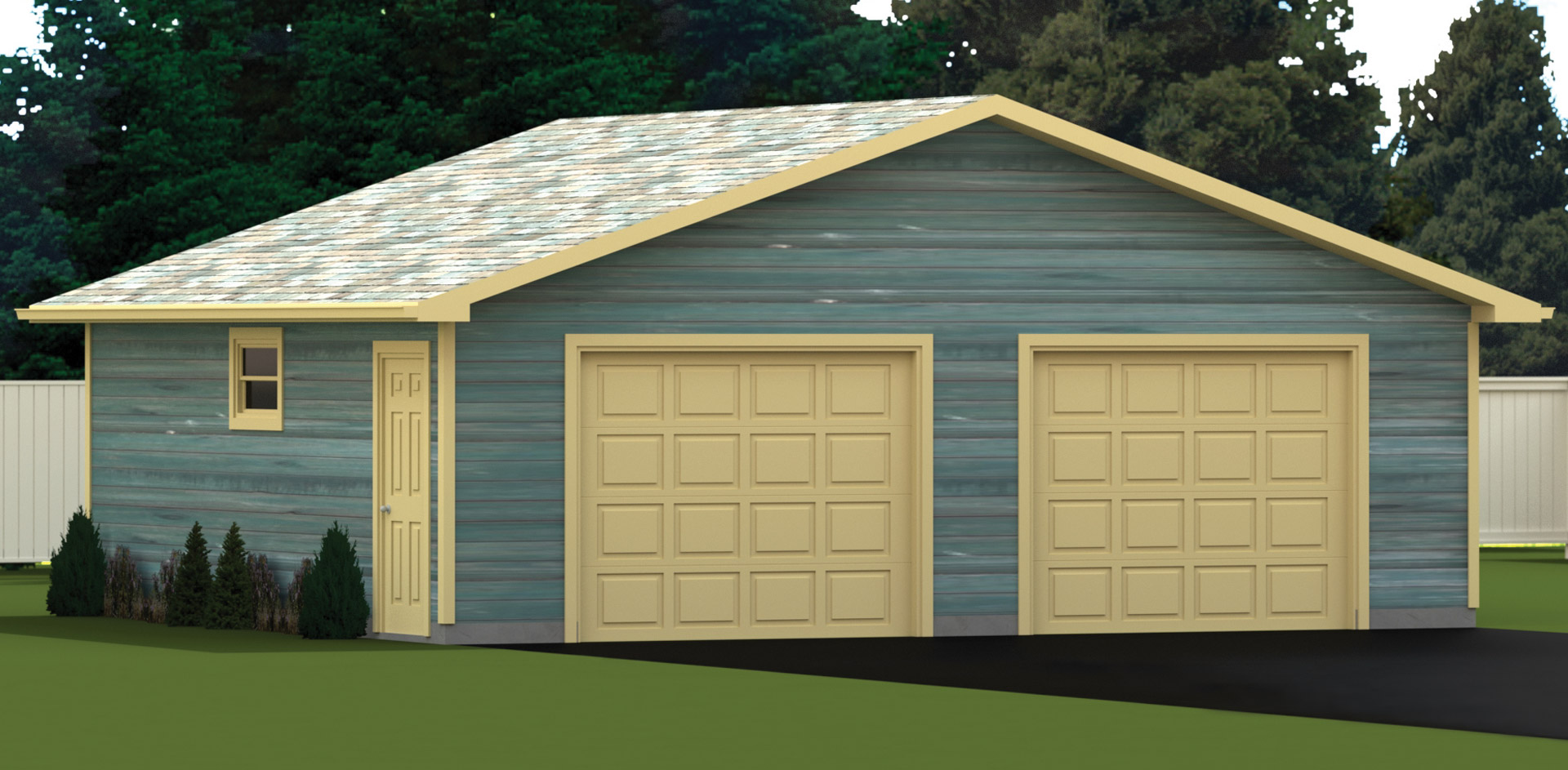 672 sq.ft. timber mart 2 car garage exterior render