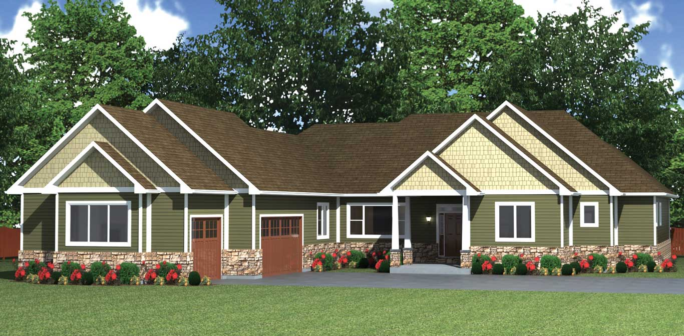 2953 sq.ft. timber mart house 3 bed 2.5 bath exterior render