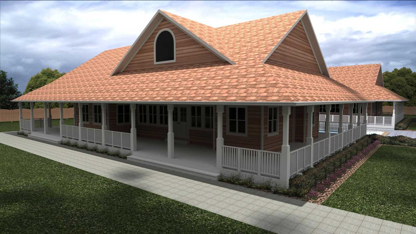 3535 sq.ft. timber mart house exterior rendering