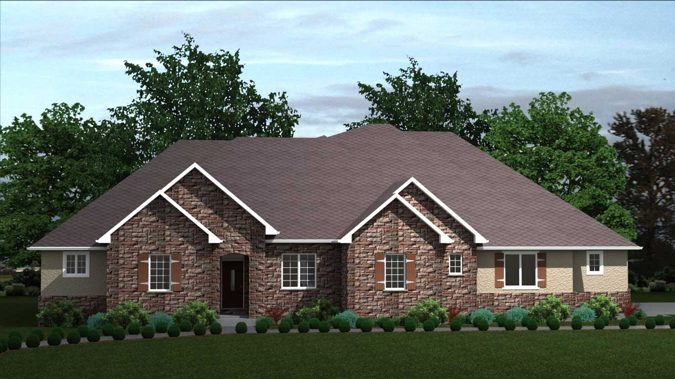 3600 sq.ft. timber mart house exterior rendering