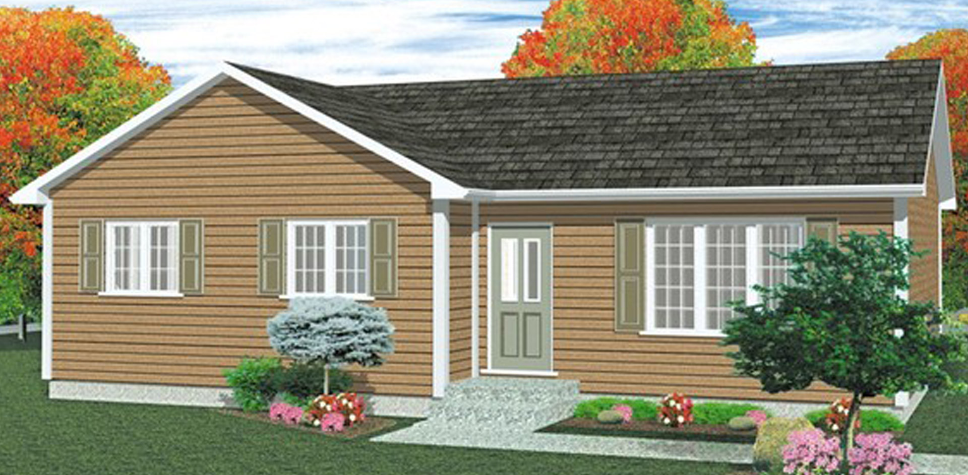 1044 sq.ft. timber mart house 3 bed 1 bath exterior render