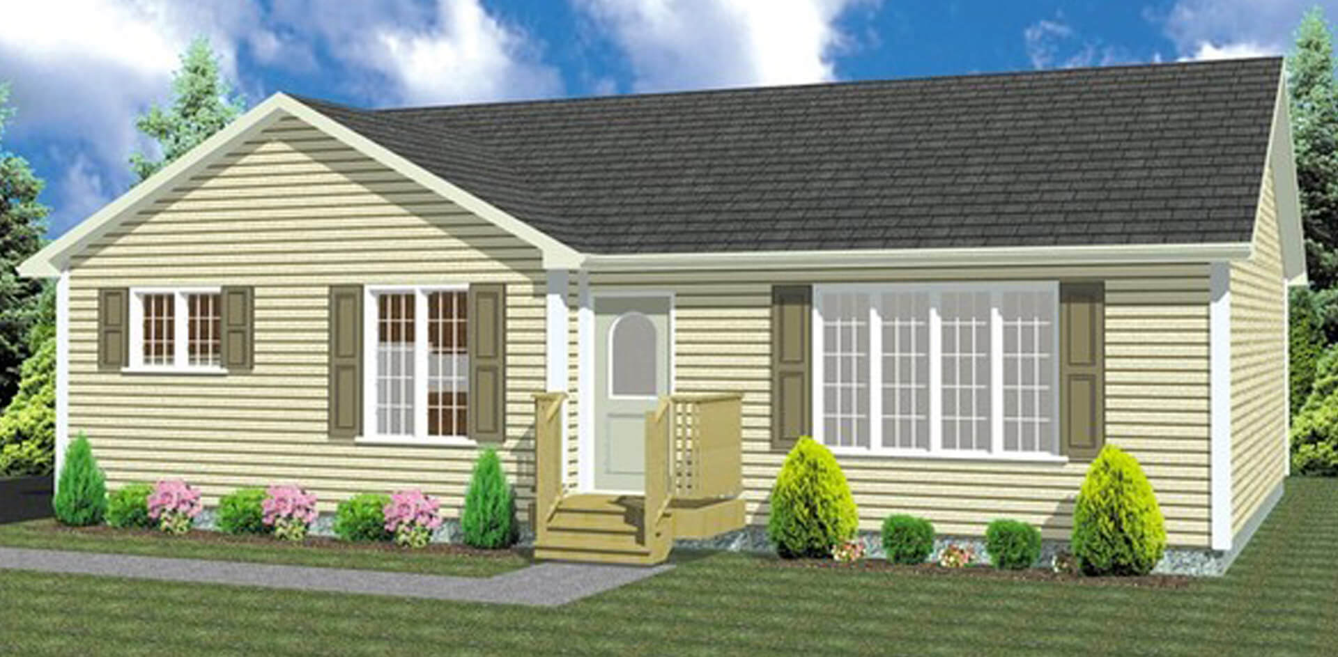 1218 sq.ft. timber mart house 3 bed 1 bath exterior render