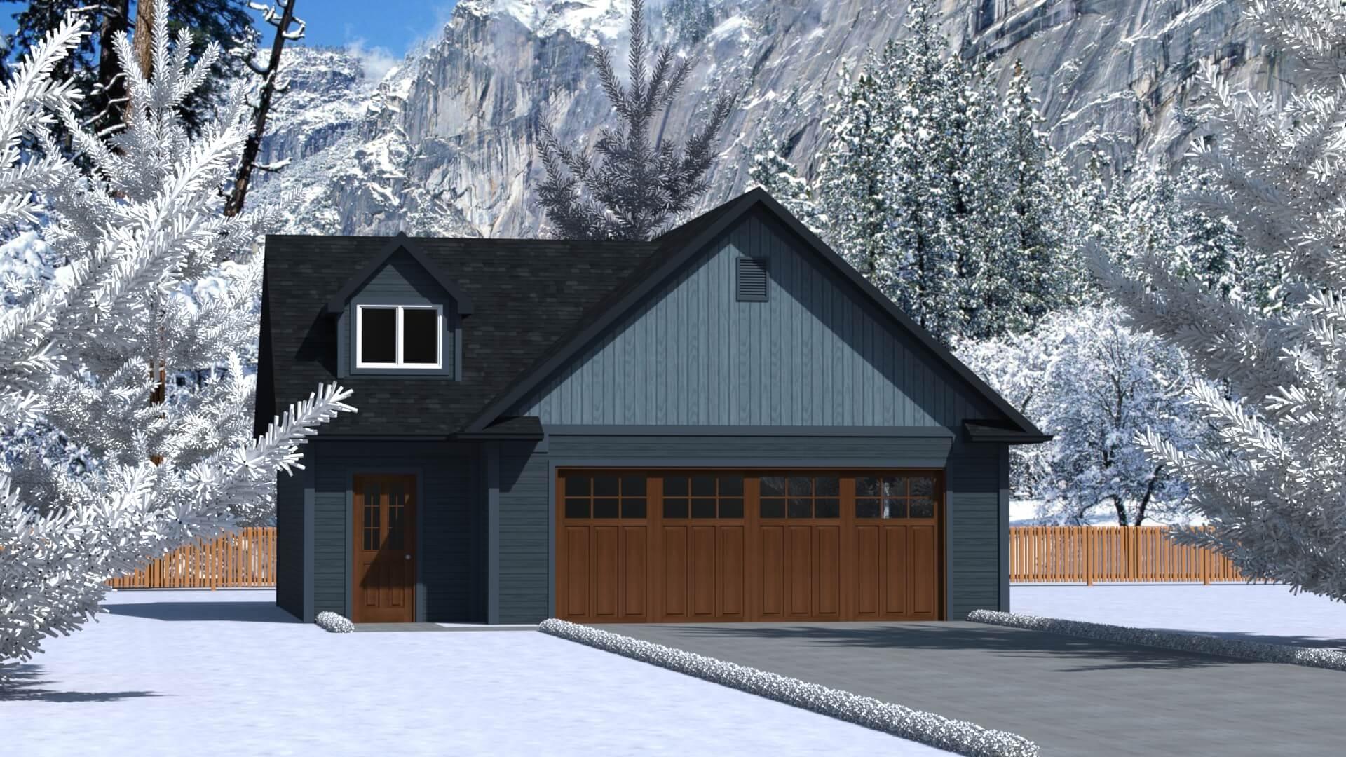 808 sq.ft. timber mart 2 car garage exterior render