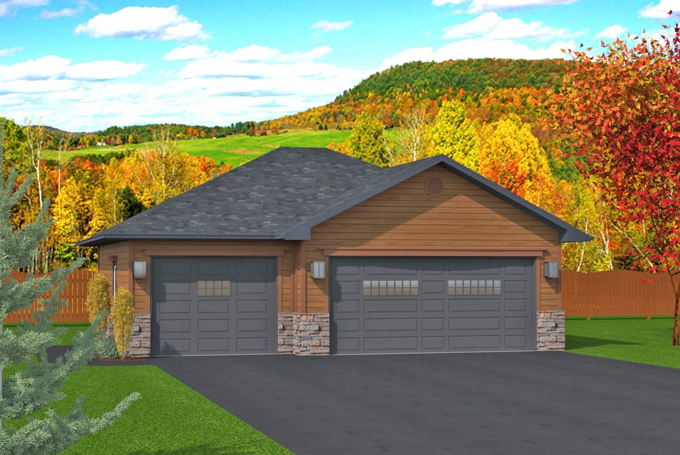 936 sq.ft. timber mart 3 car garage exterior render