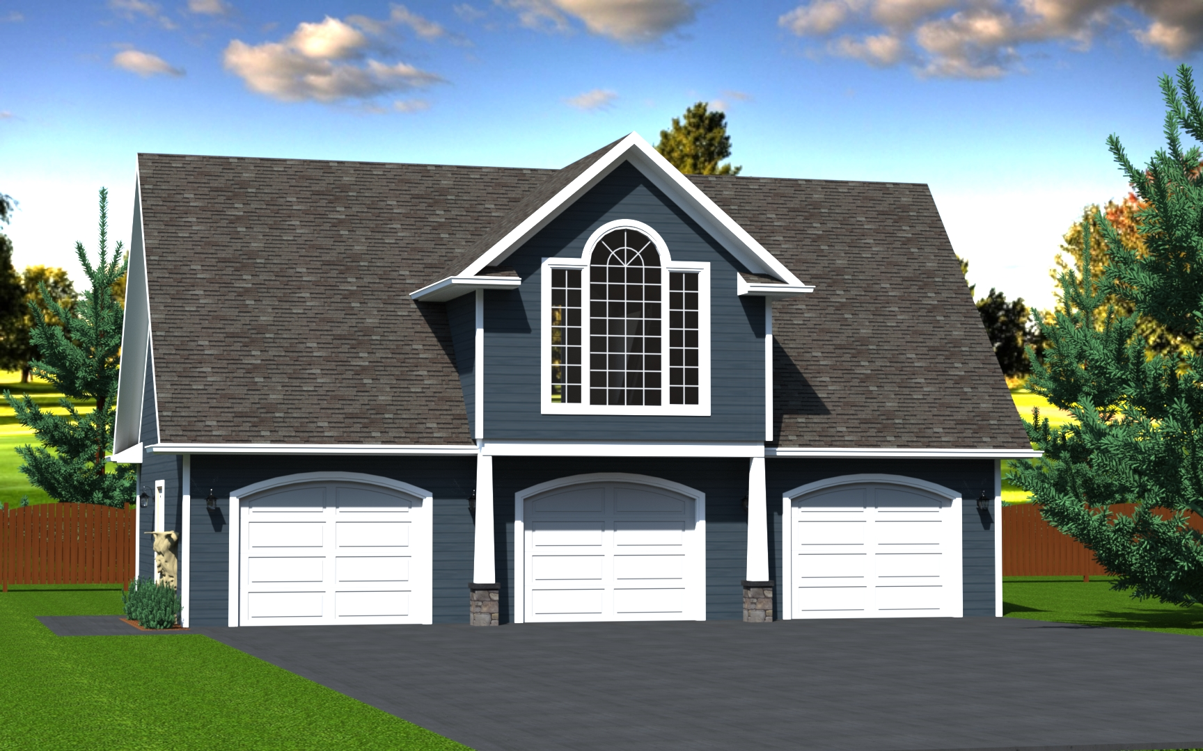 1008 sq.ft. timber mart 3 car garage exterior render