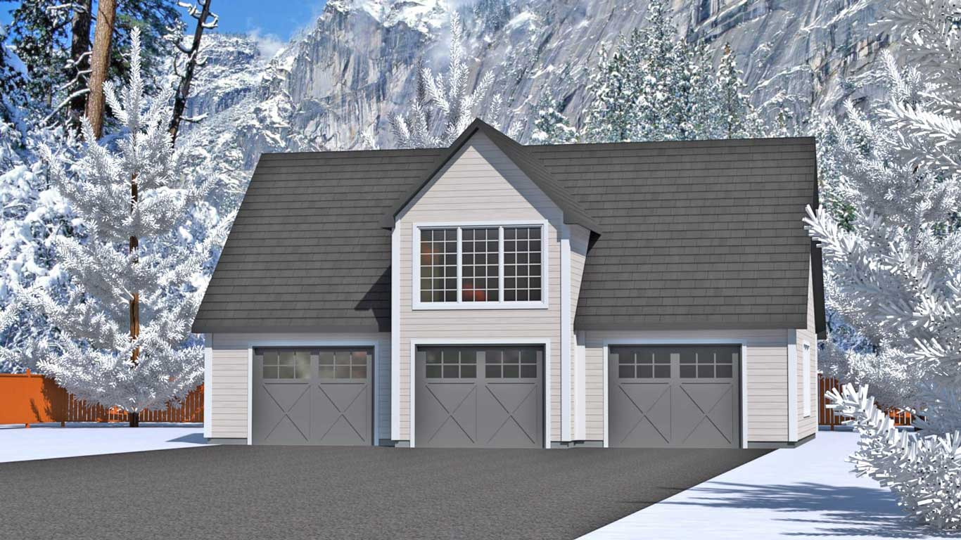1353 sq.ft. timber mart 3 car garage exterior render