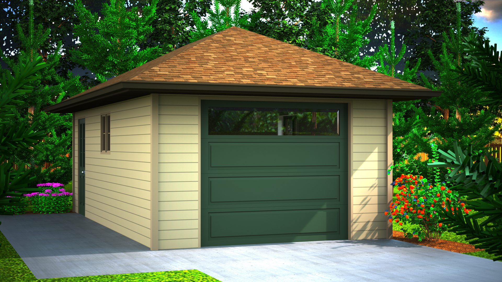 282 sq.ft. timber mart garage exterior render