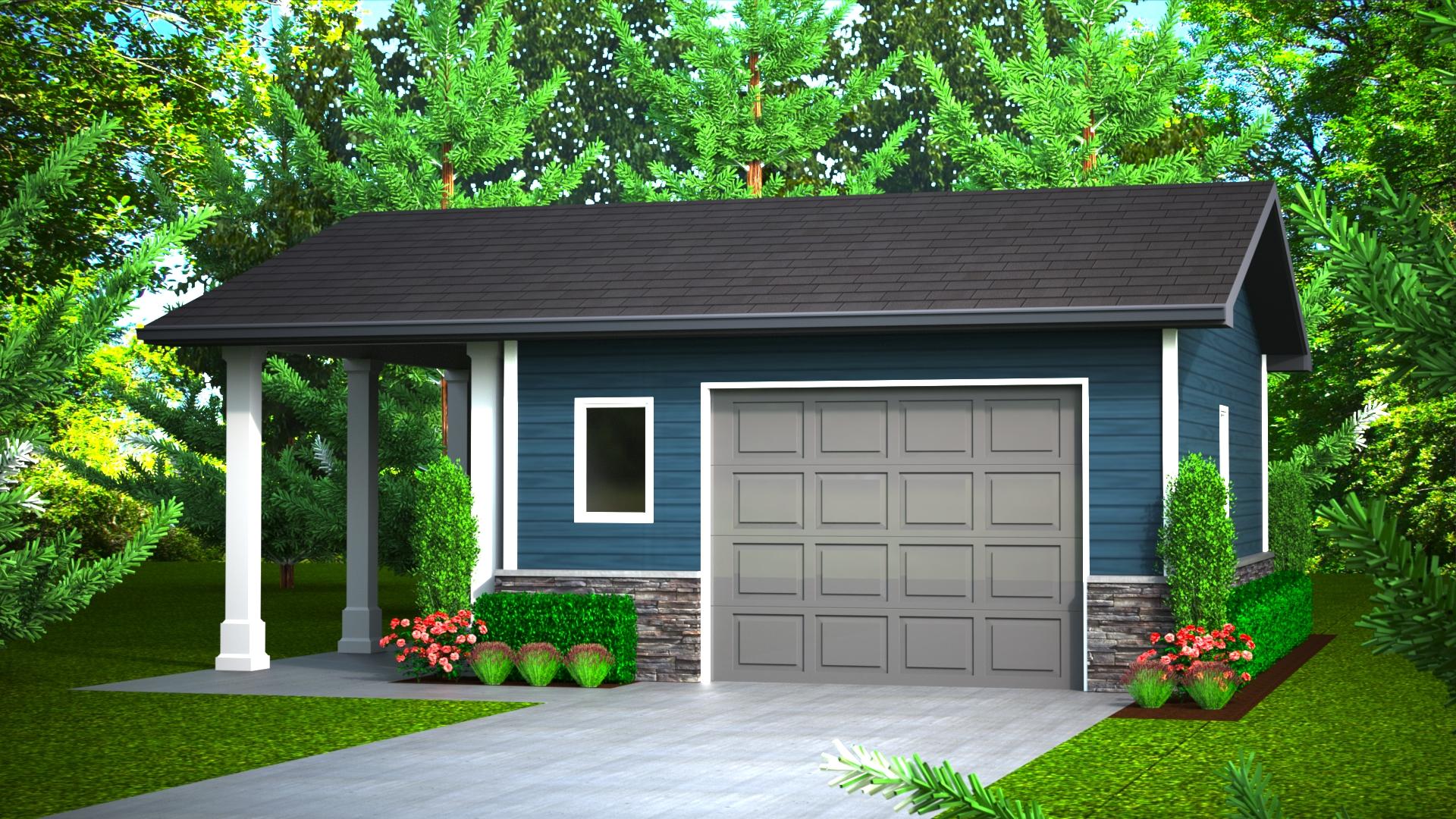 352 sq.ft. timber mart garage exterior render