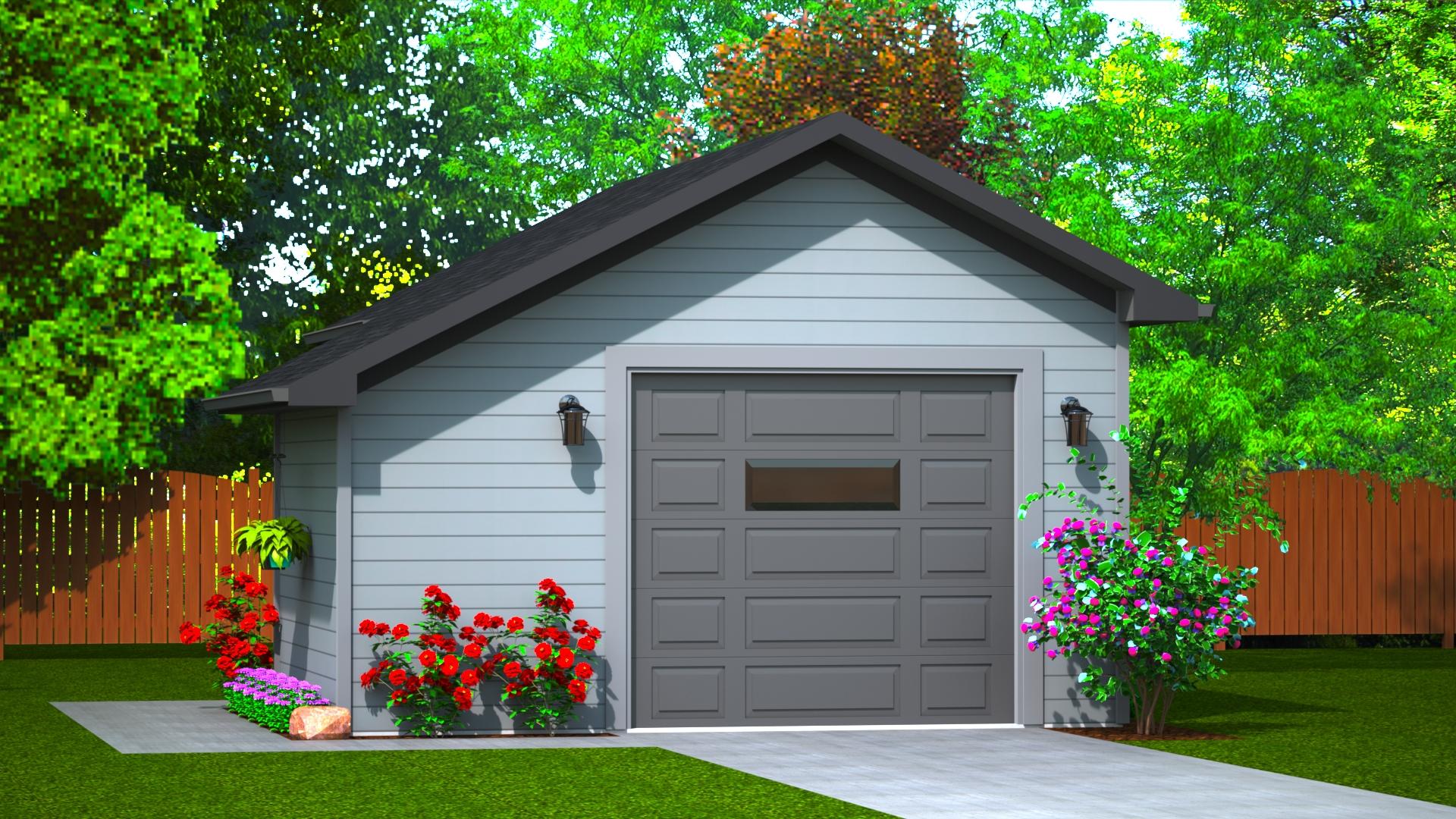 384 sq.ft. timber mart garage exterior render