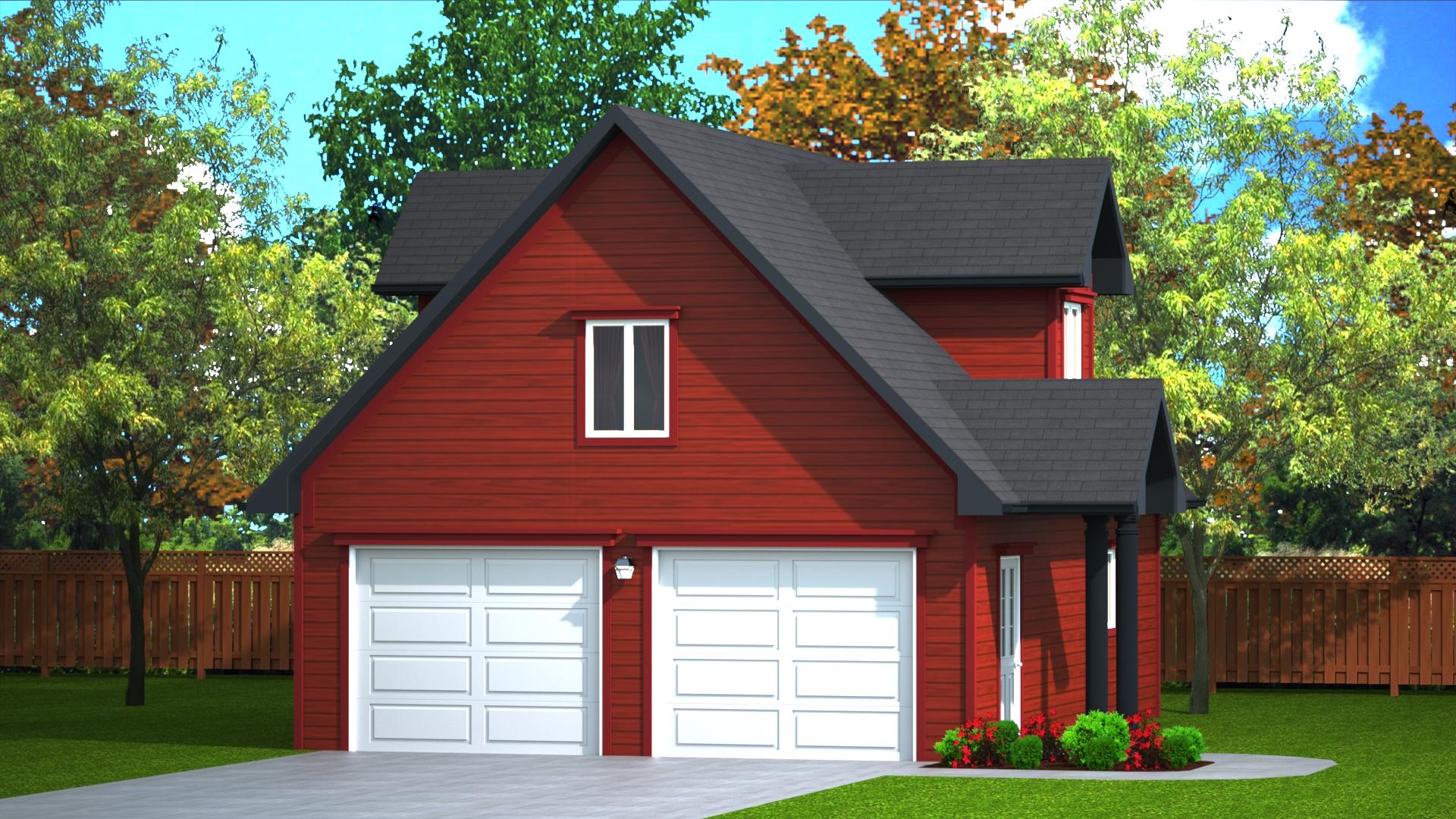 720 sq.ft. timber mart 2 car garage exterior render