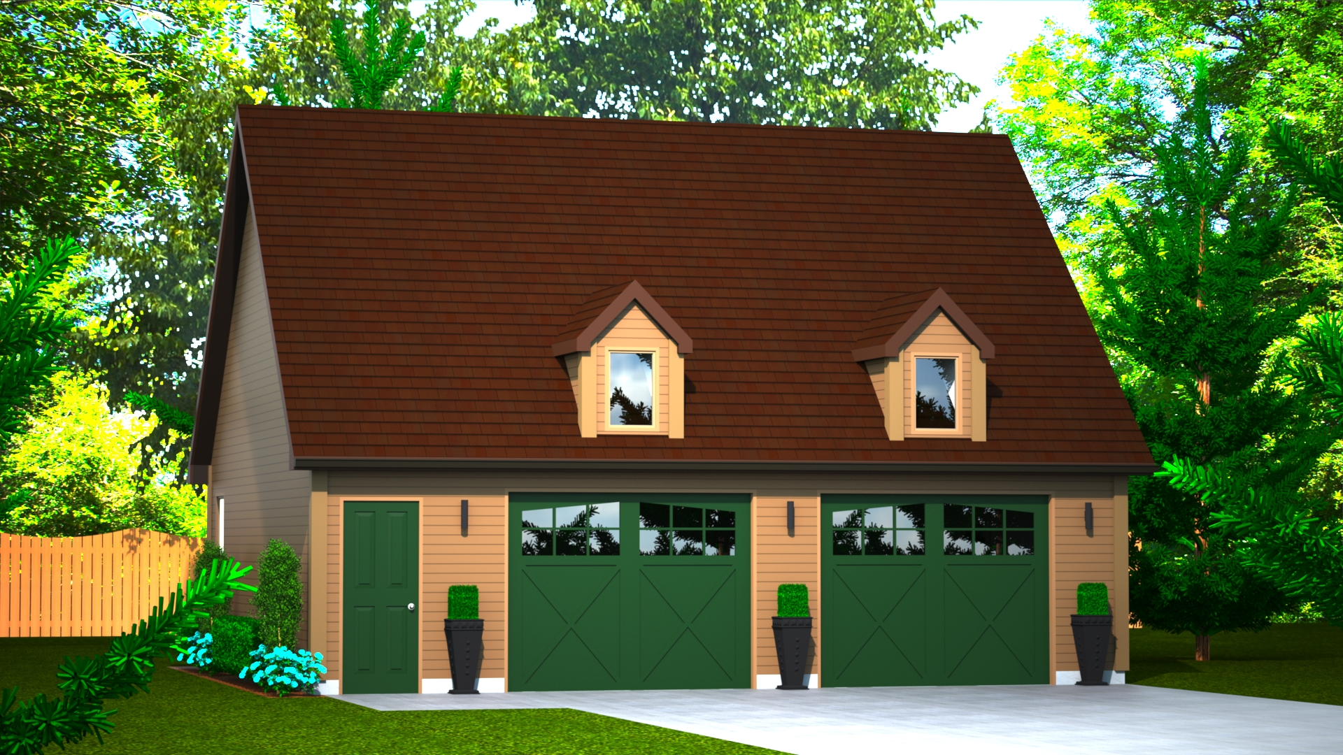 725 sq.ft. timber mart 2 car garage exterior render