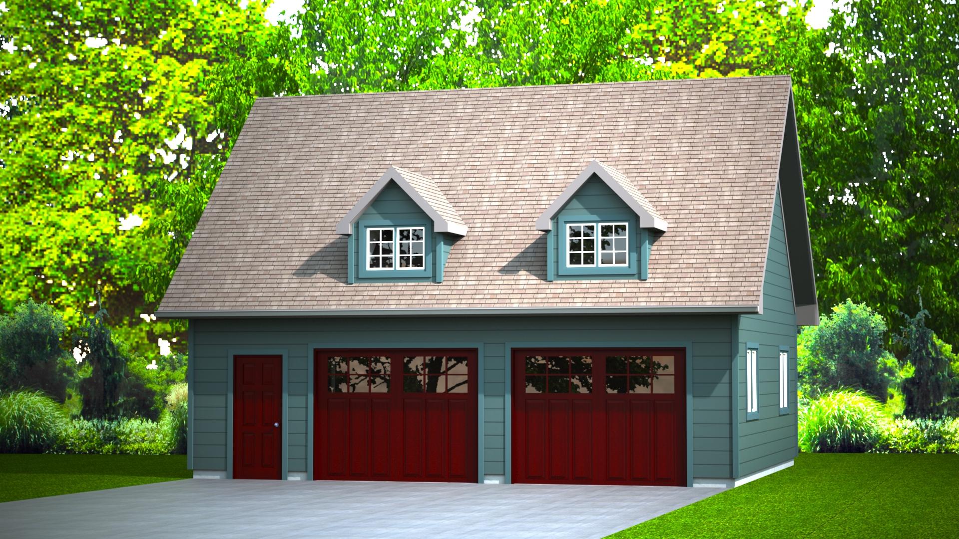 768 sq.ft. timber mart 2 car garage exterior render