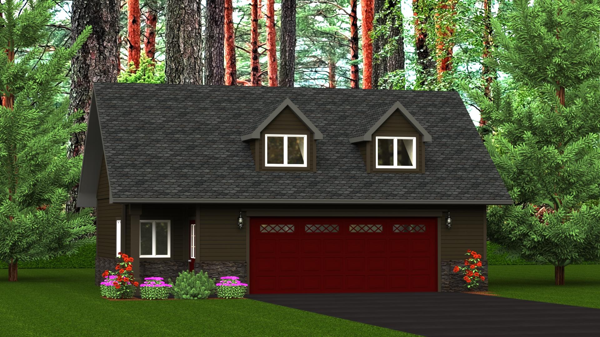 786 sq.ft. timber mart 2 car garage exterior render