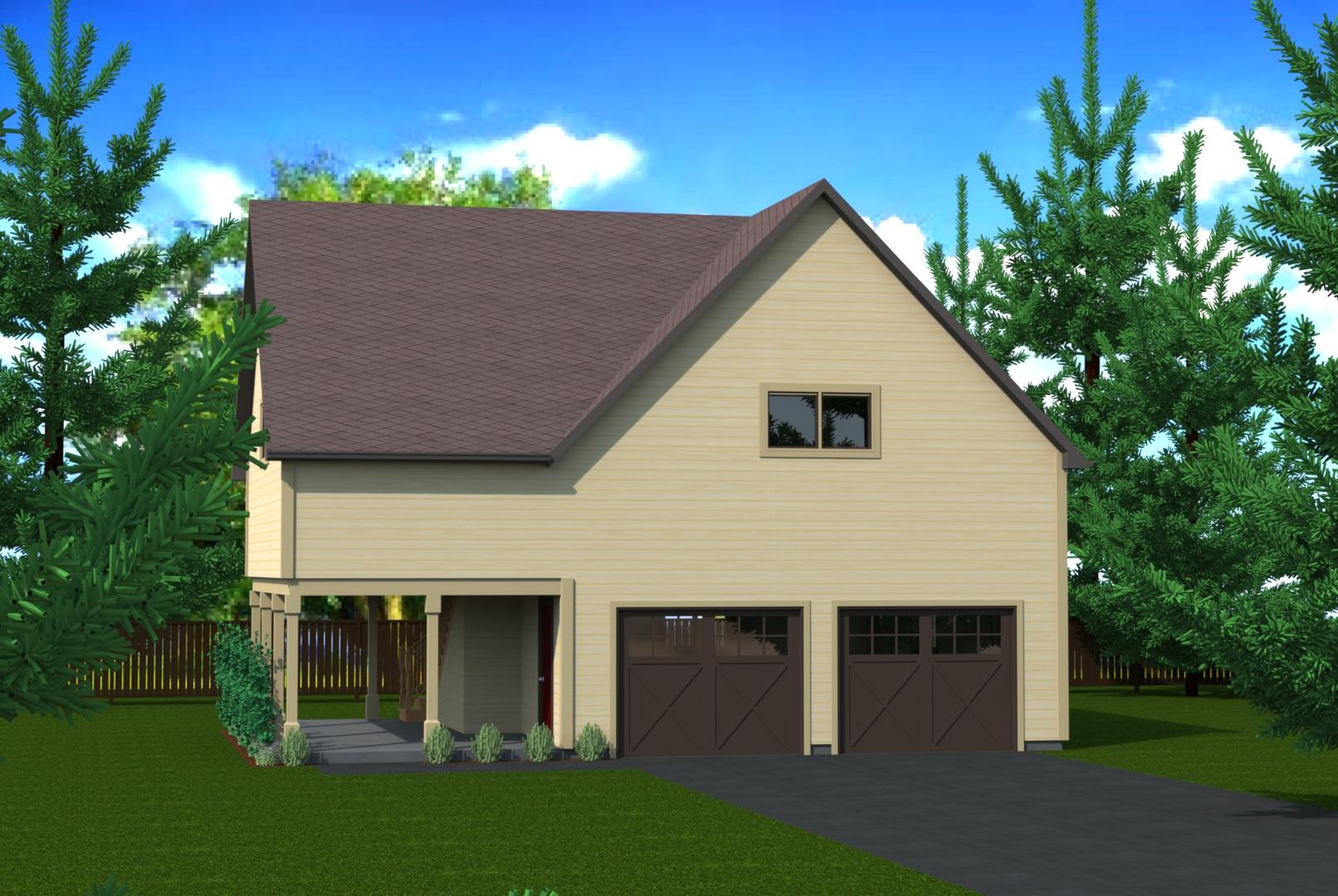 912 sq.ft. timber mart 2 car garage exterior render