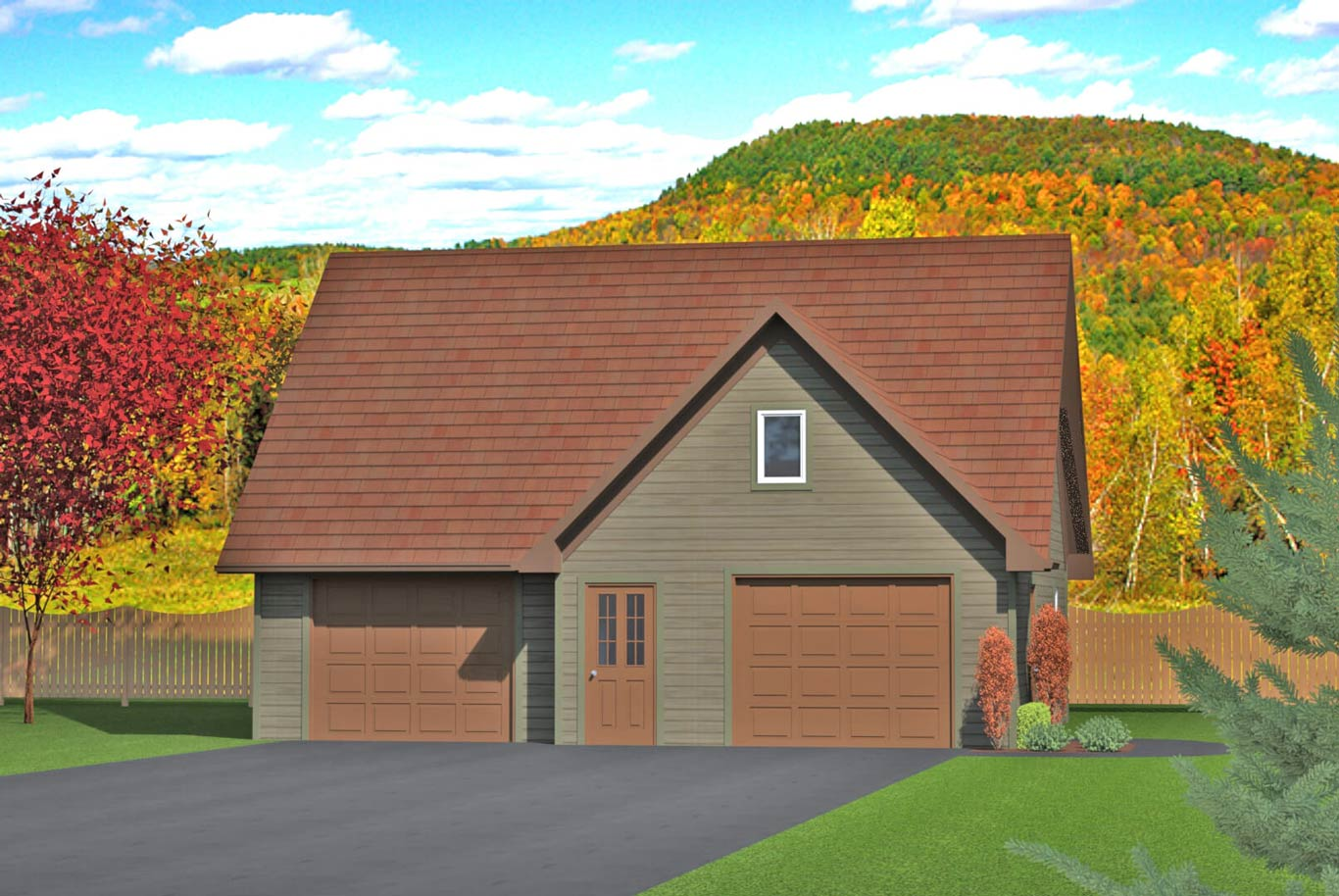 962 sq.ft. timber mart 2 car garage exterior render