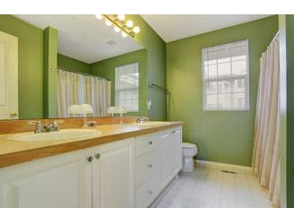 washroom with green walls