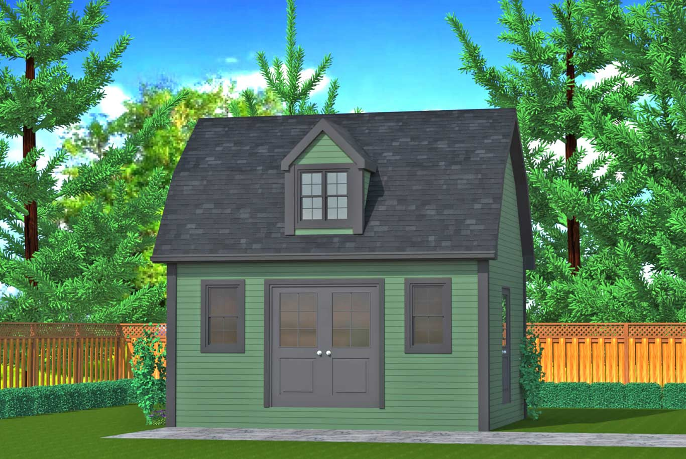 252 sq.ft. timber mart shed green wood finish and french door