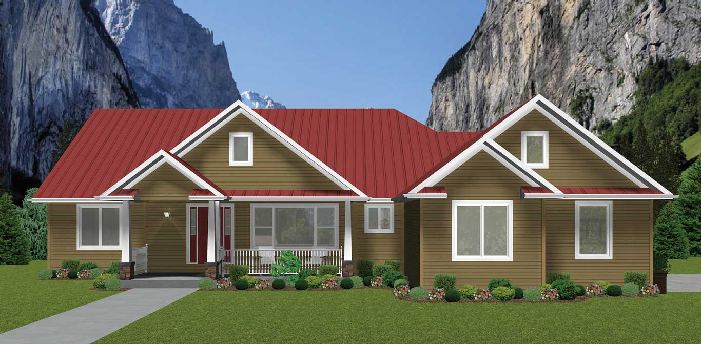 2395 sq.ft. timber mart house 3 bed 2.5 bath exterior render