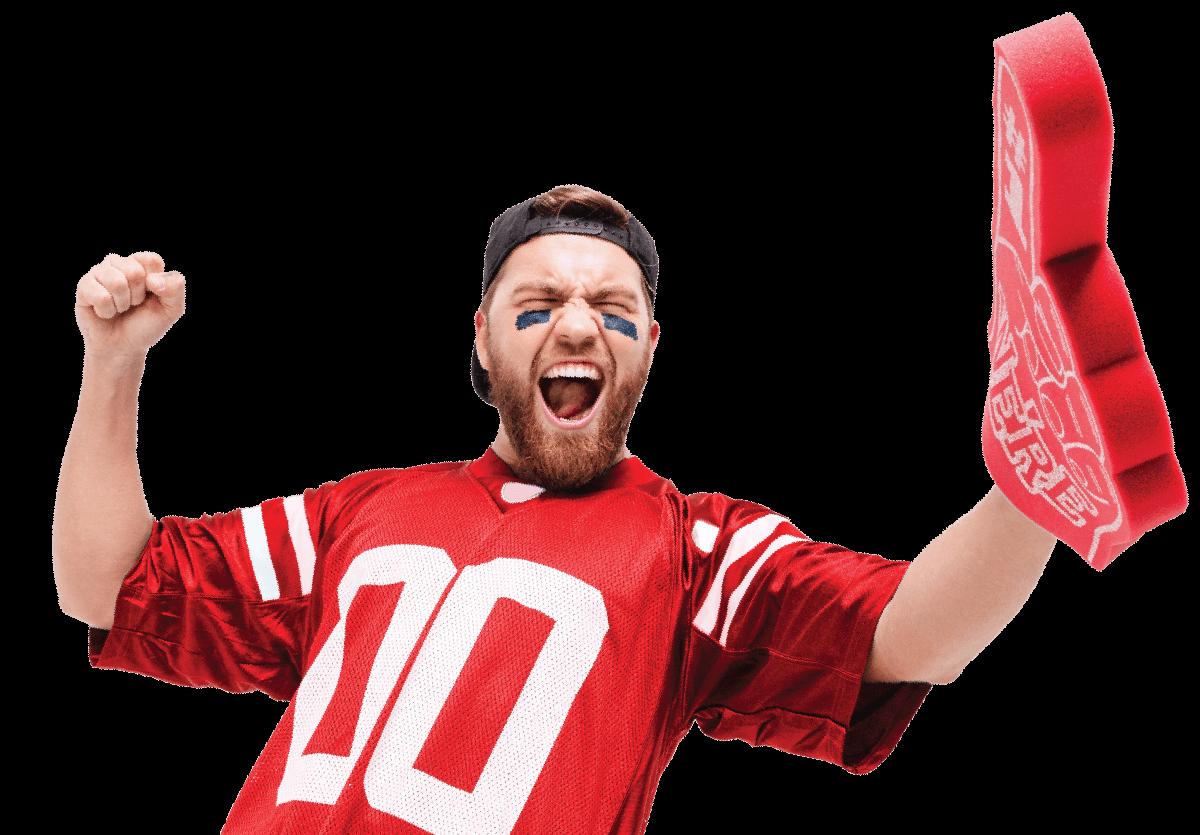 Image of fan cheering with foam finger