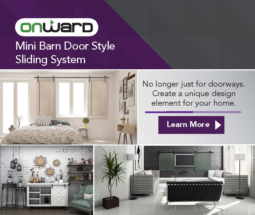Onward mini barn door style sliding system. No longer just for doorways. Create a unique design element for your home.