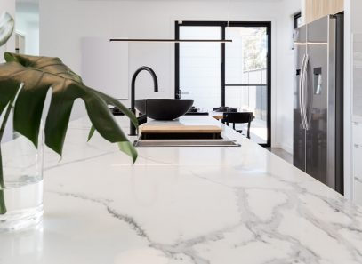 Photo of a marble countertop on a beautiful kitchen island