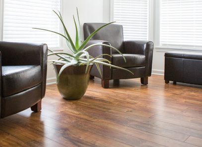 Beauty shot of laminate flooring indoors