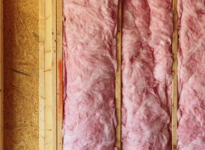 Image of pink insulation in wall