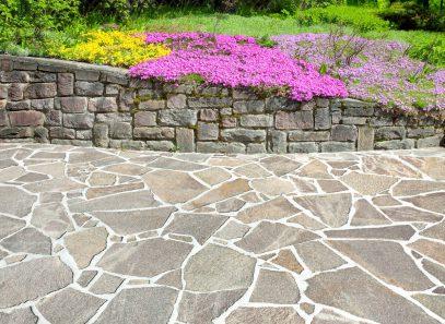 Decorative stone patio
